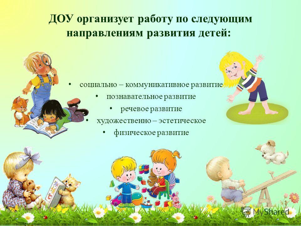ДОУ организует работу по следующим направлениям развития детей: социально – коммуникативное развитие познавательное развитие речевое развитие художественно – эстетическое физическое развитие