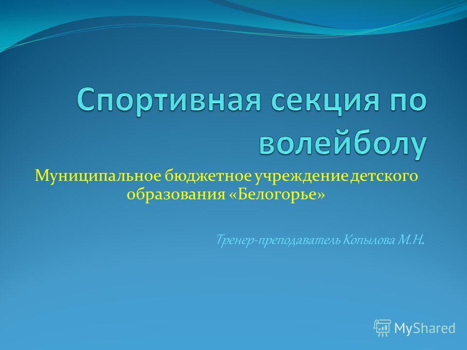 Муниципальное бюджетное учреждение детского образования «Белогорье» Тренер-преподаватель Копылова М.Н.