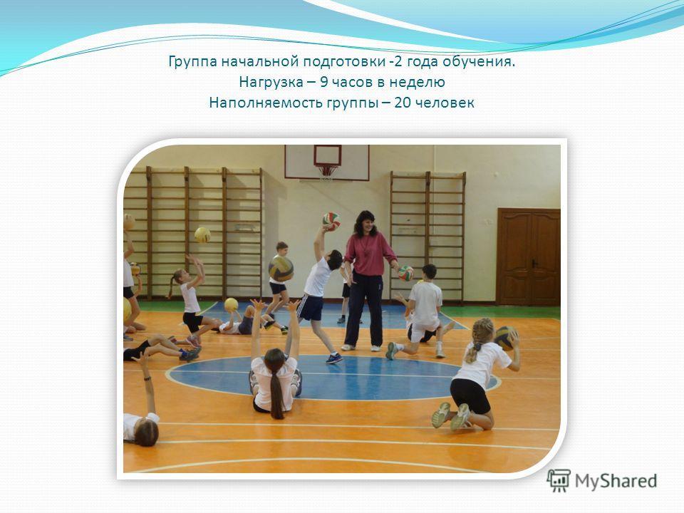 Группа начальной подготовки -2 года обучения. Нагрузка – 9 часов в неделю Наполняемость группы – 20 человек