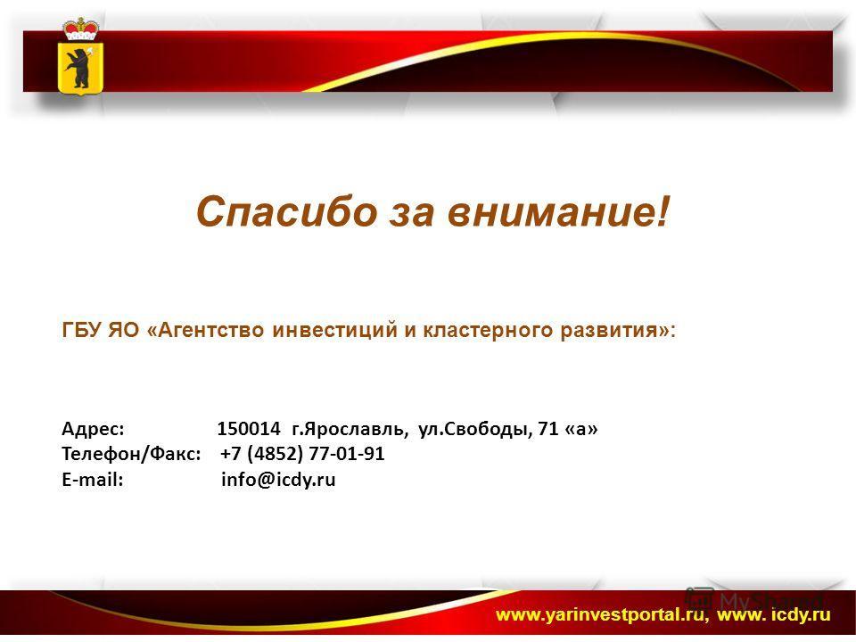 Спасибо за внимание! ГБУ ЯО «Агентство инвестиций и кластерного развития»: Адрес: 150014 г.Ярославль, ул.Свободы, 71 «а» Телефон/Факс: +7 (4852) 77-01-91 E-mail: info@icdy.ru www.yarinvestportal.ru, www. icdy.ru