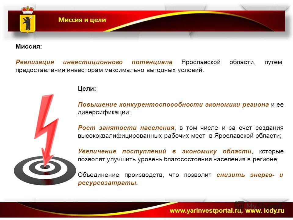 Миссия и цели www.yarinvestportal.ru, www. icdy.ru Миссия: Реализация инвестиционного потенциала Ярославской области, путем предоставления инвесторам максимально выгодных условий. Цели: Повышение конкурентоспособности экономики региона и ее диверсифи