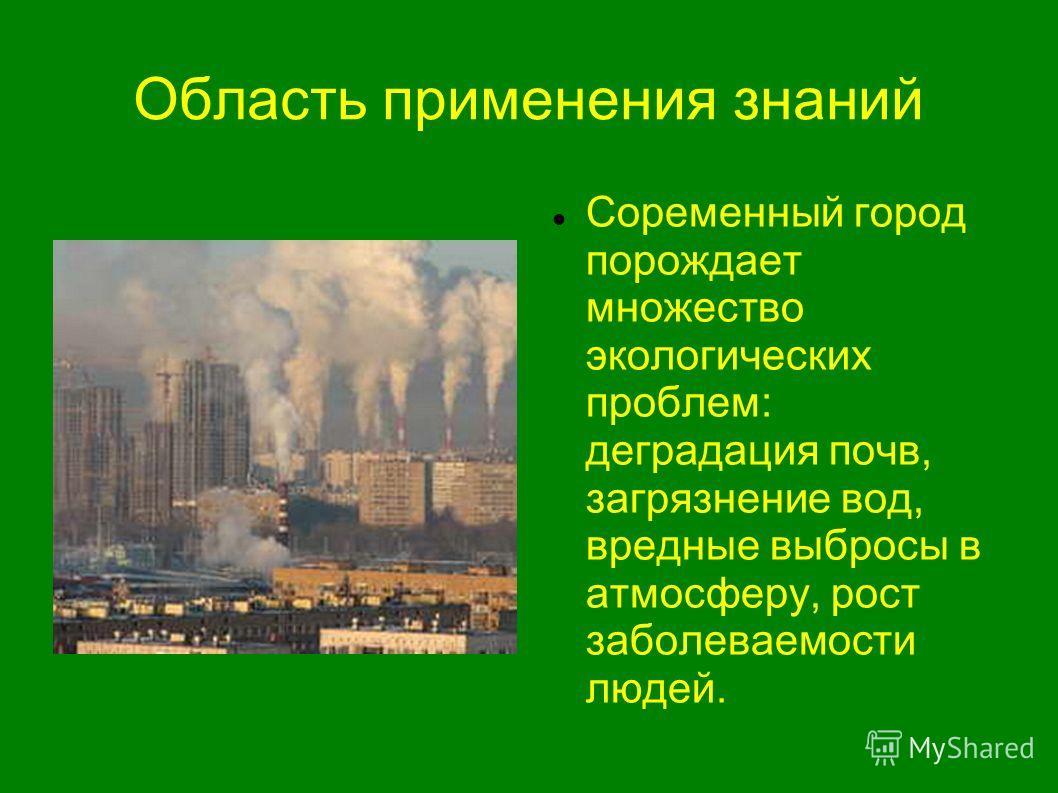 Область применения знаний Соременный город порождает множество экологических проблем: деградация почв, загрязнение вод, вредные выбросы в атмосферу, рост заболеваемости людей.