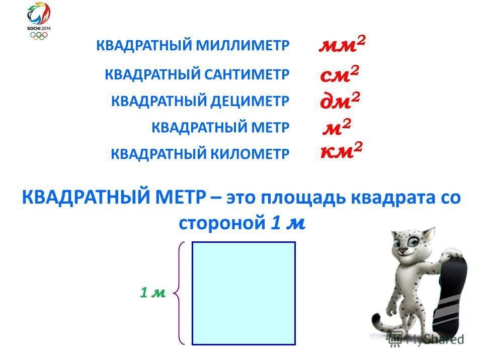 КВАДРАТНЫЙ МИЛЛИМЕТР КВАДРАТНЫЙ МЕТР – это площадь квадрата со стороной 1 м КВАДРАТНЫЙ САНТИМЕТР КВАДРАТНЫЙ МЕТР КВАДРАТНЫЙ КИЛОМЕТР мм 2 см 2 м 2 м 2 км 2 1 м КВАДРАТНЫЙ ДЕЦИМЕТР дм 2