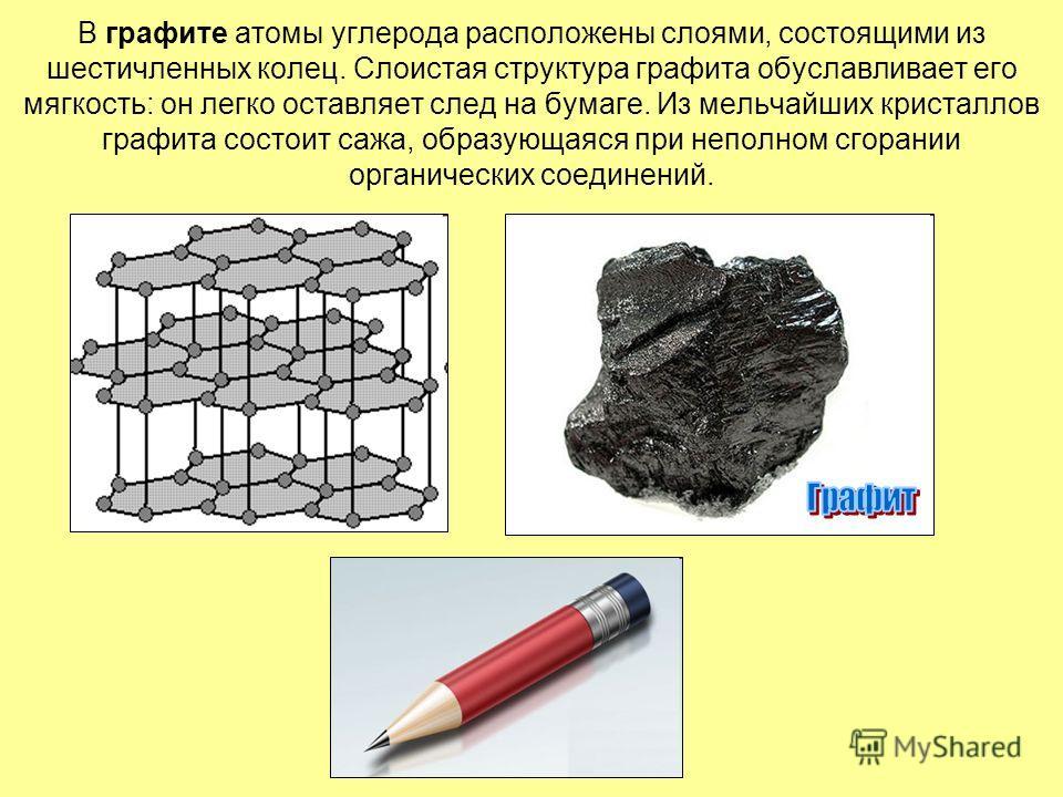 В графите атомы углерода расположены слоями, состоящими из шестичленных колец. Слоистая структура графита обуславливает его мягкость: он легко оставляет след на бумаге. Из мельчайших кристаллов графита состоит сажа, образующаяся при неполном сгорании