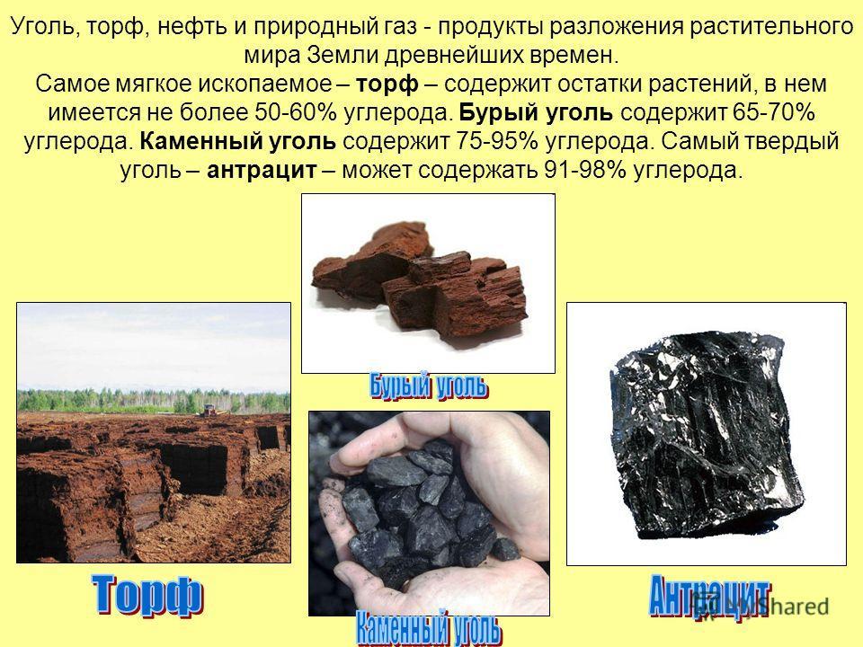 Уголь, торф, нефть и природный газ - продукты разложения растительного мира Земли древнейших времен. Самое мягкое ископаемое – торф – содержит остатки растений, в нем имеется не более 50-60% углерода. Бурый уголь содержит 65-70% углерода. Каменный уг