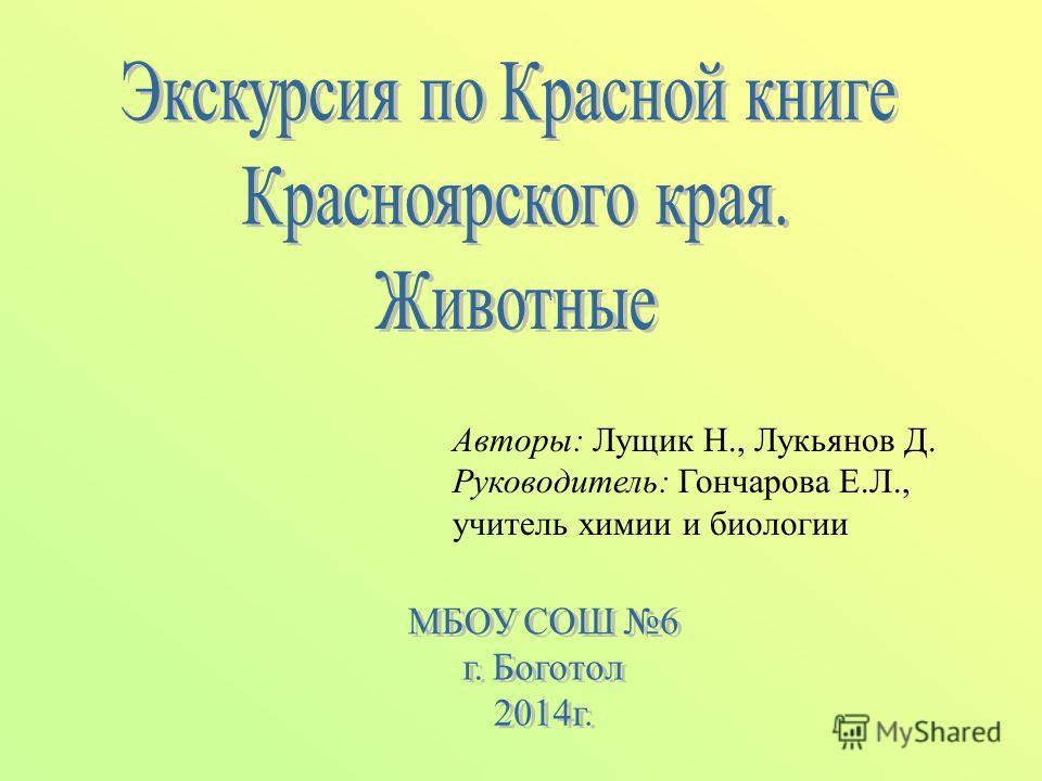 Авторы: Лущик Н., Лукьянов Д. Руководитель: Гончарова Е.Л., учитель химии и биологии