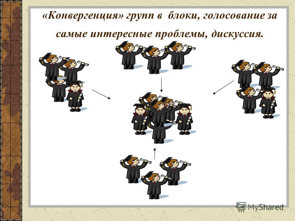 «Конвергенция» групп в блоки, голосование за самые интересные проблемы, дискуссия.