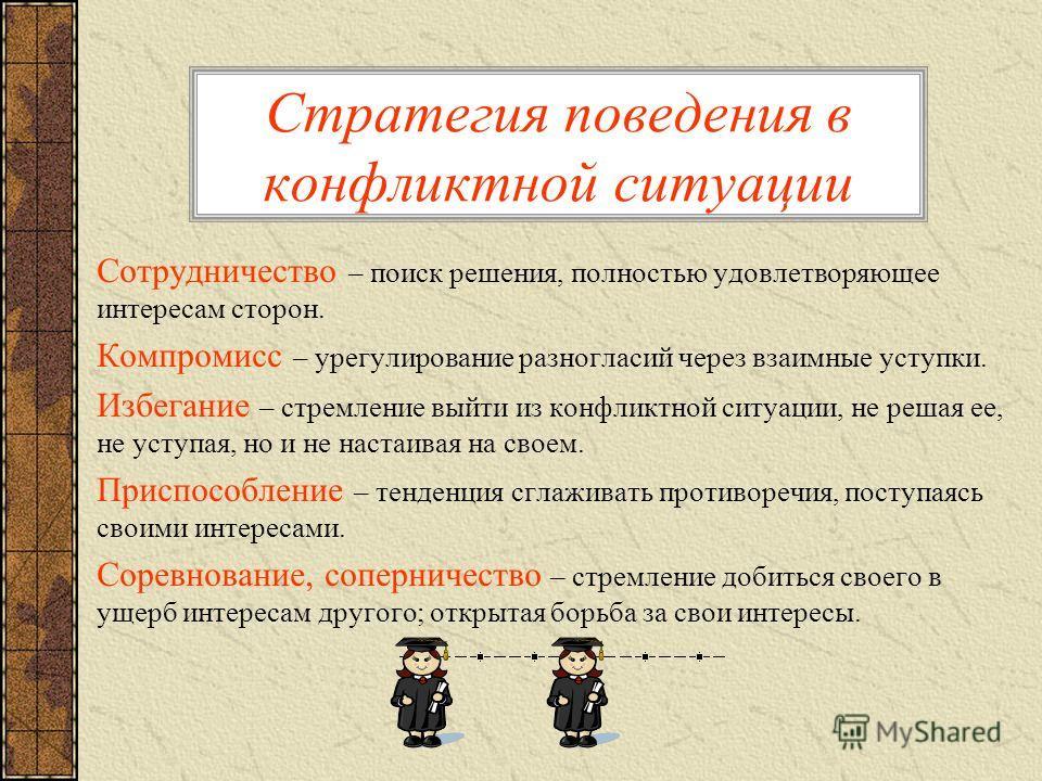 Стратегия поведения в конфликтной ситуации Сотрудничество – поиск решения, полностью удовлетворяющее интересам сторон. Компромисс – урегулирование разногласий через взаимные уступки. Избегание – стремление выйти из конфликтной ситуации, не решая ее,