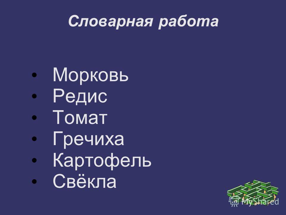 Словарная работа Морковь Редис Томат Гречиха Картофель Свёкла