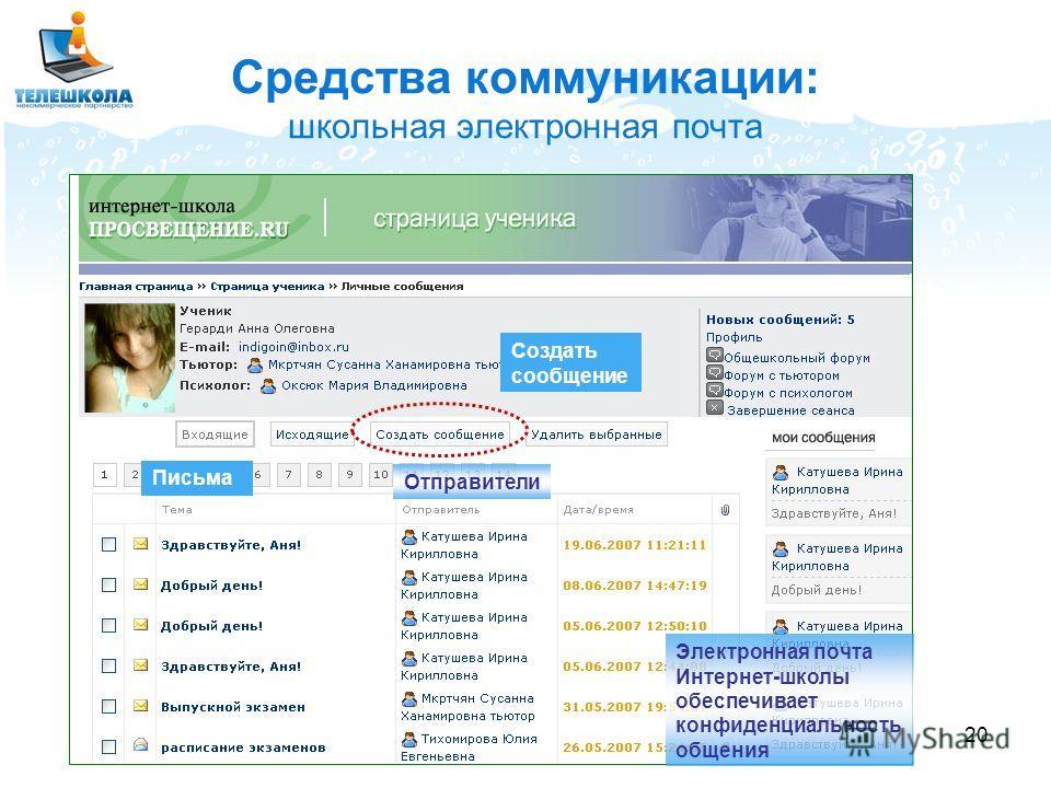 20 Средства коммуникации: школьная электронная почта Электронная почта Интернет-школы обеспечивает конфиденциальность общения Письма Отправители Создать сообщение