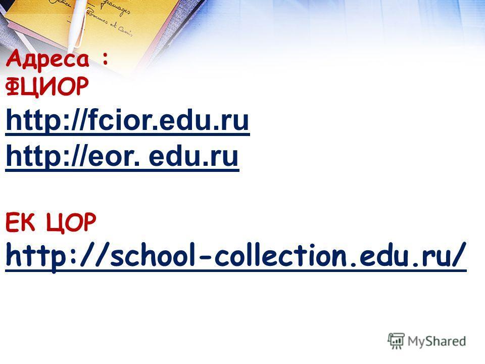 Актуализация знаний Адреса : ФЦИОР http://fcior.edu.ru http://eor. edu.ru ЕК ЦОР http://school-collection.edu.ru/