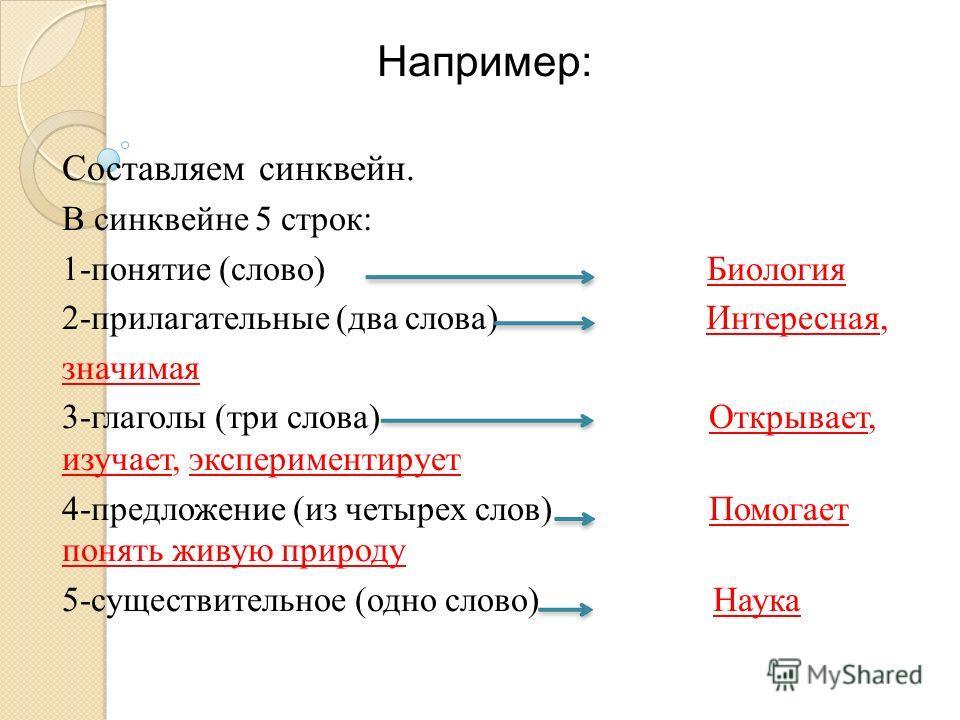 Например: Составляем синквейн. В синквейне 5 строк: 1-понятие (слово) Биология 2-прилагательные (два слова) Интересная, значимая 3-глаголы (три слова) Открывает, изучает, экспериментирует 4-предложение (из четырех слов) Помогает понять живую природу