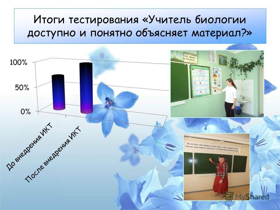 Итоги тестирования «Учитель биологии доступно и понятно объясняет материал?»