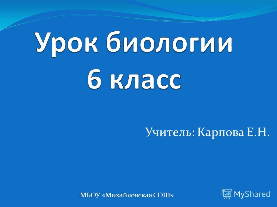 Учитель: Карпова Е.Н. МБОУ «Михайловская СОШ»