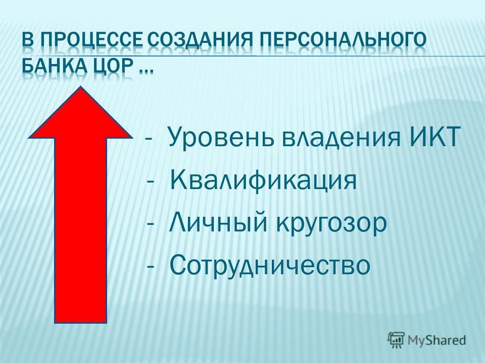 - Уровень владения ИКТ - Квалификация - Личный кругозор - Сотрудничество
