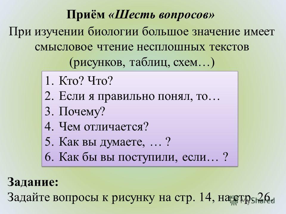 Приём «Шесть вопросов» 1.Кто? Что? 2. Если я правильно понял, то… 3.Почему? 4. Чем отличается? 5. Как вы думаете, … ? 6. Как бы вы поступили, если… ? 1.Кто? Что? 2. Если я правильно понял, то… 3.Почему? 4. Чем отличается? 5. Как вы думаете, … ? 6. Ка
