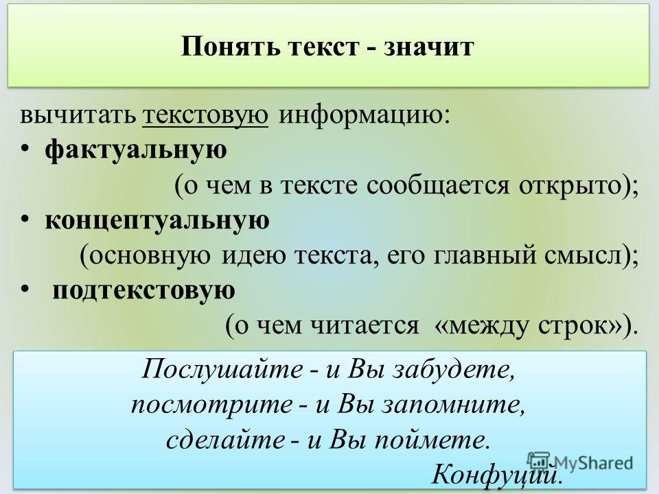 Понять текст - значит вычитать текстовую информацию: фактуальную (о чем в тексте сообщается открыто); концептуальную (основную идею текста, его главный смысл); подтекстовую (о чем читается «между строк»). Послушайте - и Вы забудете, посмотрите - и Вы