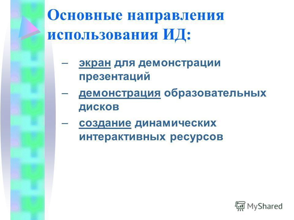Основные направления использования ИД: –экран для демонстрации презентаций –демонстрация образовательных дисков –создание динамических интерактивных ресурсов