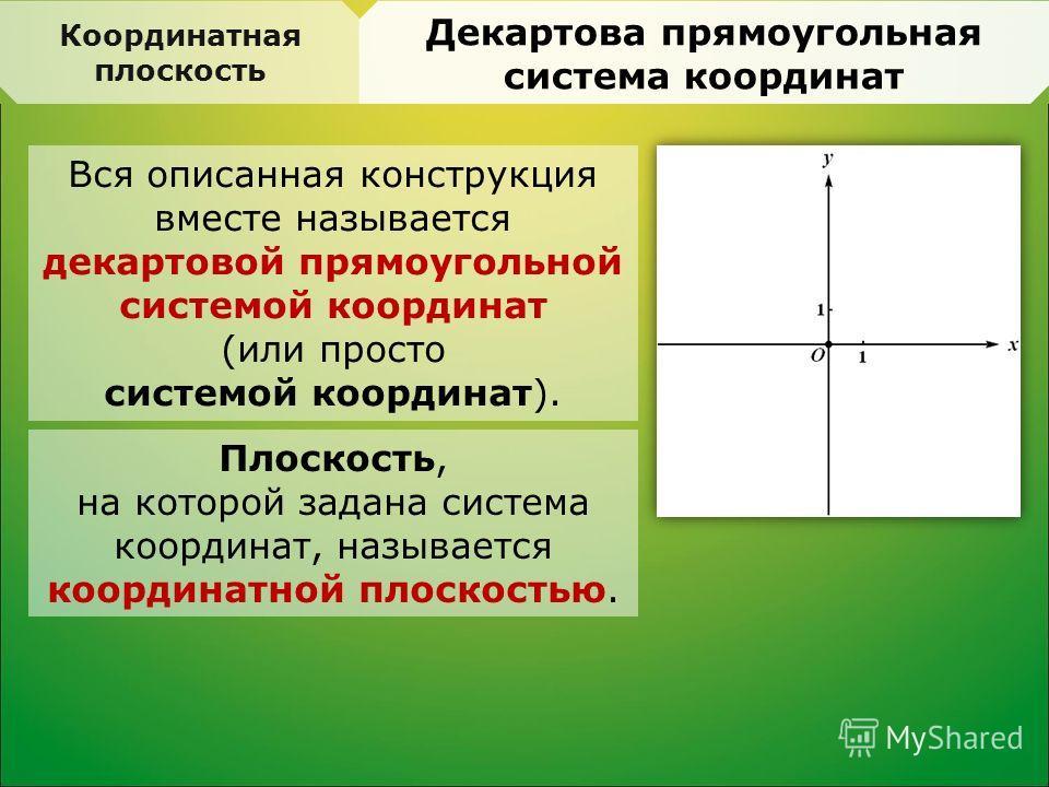 Вся описанная конструкция вместе называется декартовой прямоугольной системой координат (или просто системой координат). Координатная плоскость Декартова прямоугольная система координат Плоскость, на которой задана система координат, называется коорд