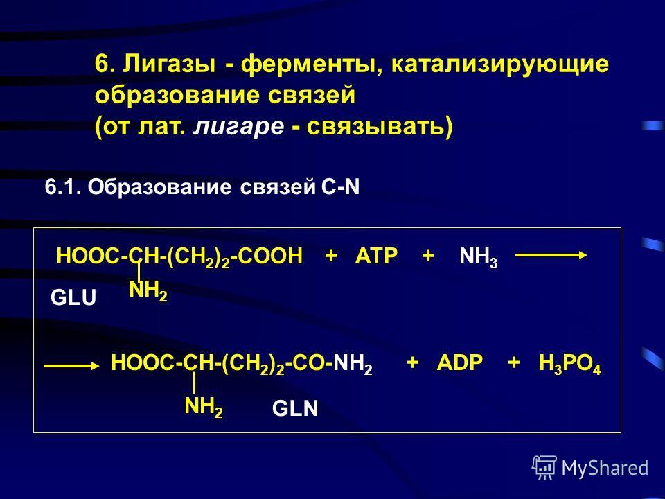 5. Изомеразы CH=O OH CH 2 -O-PO 3 H 2 CH 2 -OH CH 2 -O-PO 3 H 2 C=O D-глицеральдегид- -3-фосфат Дигидроксиацетон- фосфат
