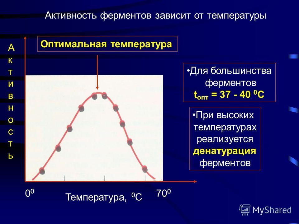 Каждый фермент имеет определенный оптимум рН Относи- тельная скорость Активность пепсина- фермента желудочного сока максимальна при рН~ 1 - 2 Активность ферментов печени максимальна при рН ~ 7,2