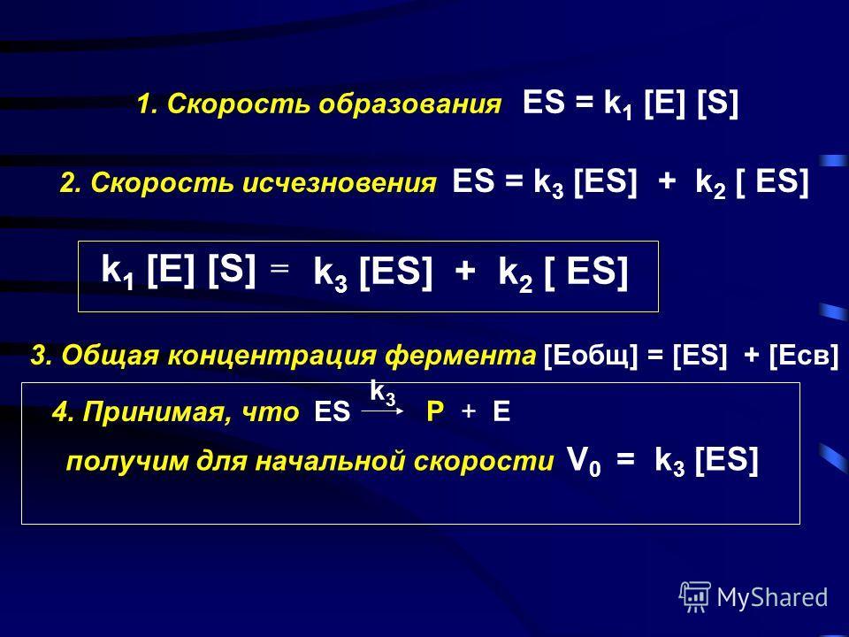 Кинетика ферментативных реакций a - начало реакции, [S] > [E], начальная скорость прямо пропорциональна [S] б - при [E] = const, cкорость реакции достигает Vmax, когда весь фермент включен в [ES] V 0 ~[E]