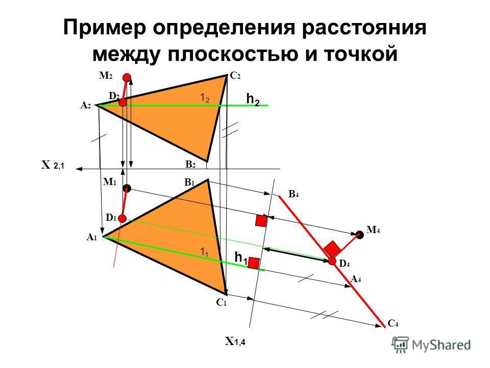 Пример определения расстояния между плоскостью и точкой Х 2,1 А2А2 X 1,4 А1А1 В1В1 А4А4 В4В4 С4С4 С1С1 С2С2 В2В2 h1h1 h2h2 1 1212 М1М1 М2М2 М4М4 D4D4 D1D1 D2D2