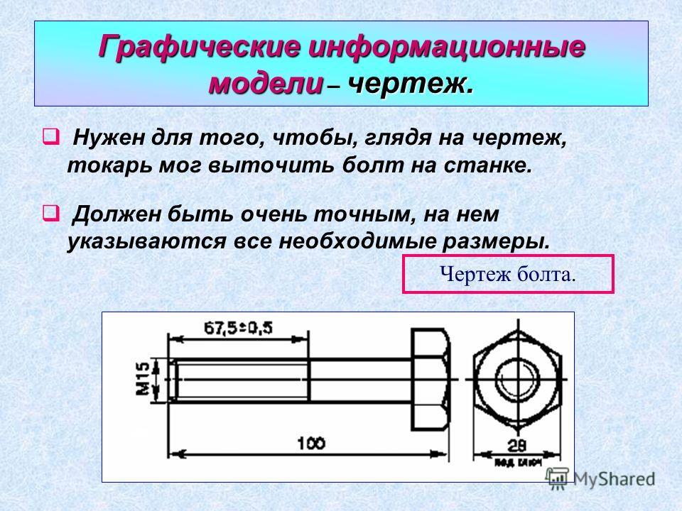 Графические информационные моделичертеж. Графические информационные модели – чертеж. Нужен для того, чтобы, глядя на чертеж, токарь мог выточить болт на станке. Должен быть очень точным, на нем указываются все необходимые размеры. Чертеж болта.