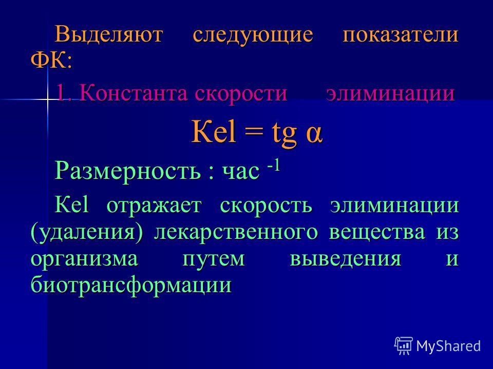 Выделяют следующие показатели ФК: 1. Константа скорости элиминации Кеl = tg α Размерность : час -1 Кеl отражает скорость элиминации (удаления) лекарственного вещества из организма путем выведения и биотрансформации