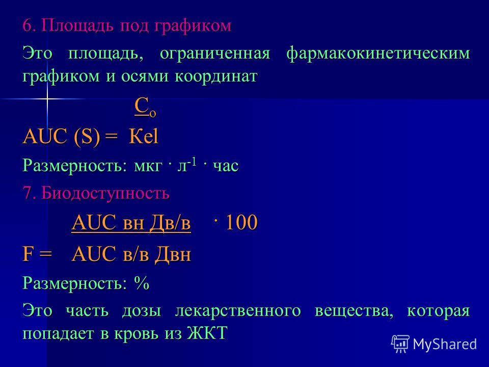 6. Площадь под графиком Это площадь, ограниченная фармакокинетическим графиком и осями координат С о С о АUС (S) = Кеl Размерность: мкг · л -1 · час 7. Биодоступность АUС вн Дв/в · 100 F =АUС в/в Двн Размерность: % Это часть дозы лекарственного вещес