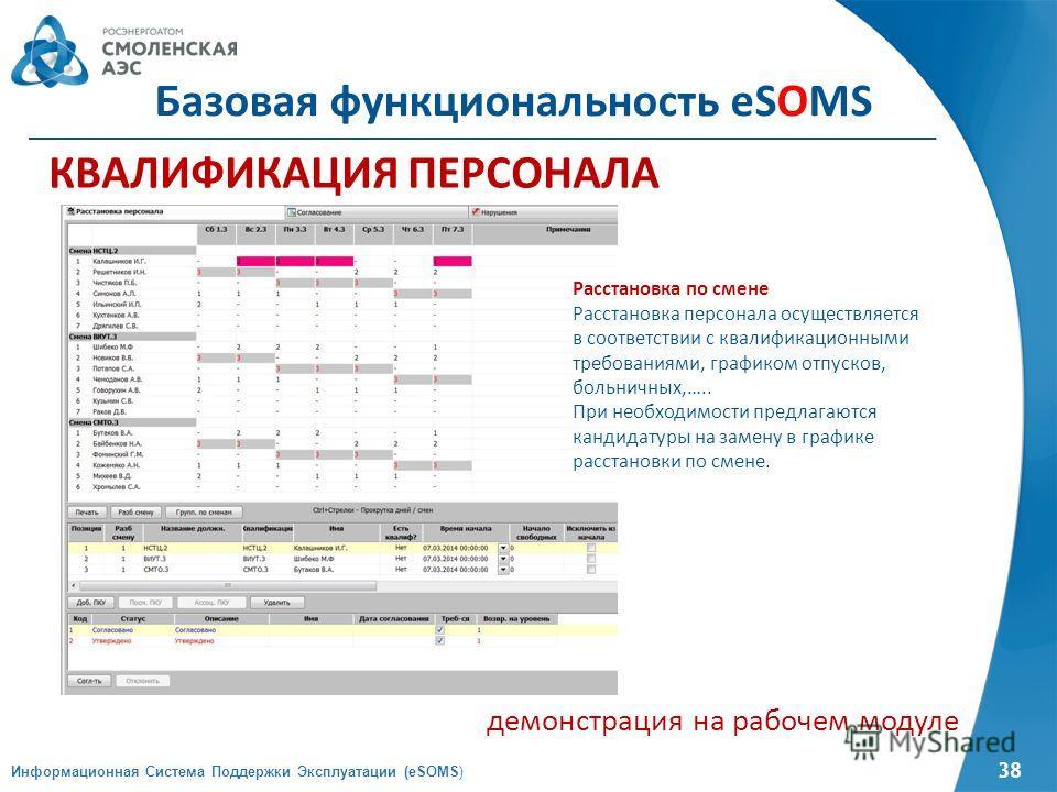 38 КВАЛИФИКАЦИЯ ПЕРСОНАЛА демонстрация на рабочем модуле Информационная Система Поддержки Эксплуатации (eSOMS) Базовая функциональность eSOMS Расстановка по смене Расстановка персонала осуществляется в соответствии с квалификационными требованиями, г