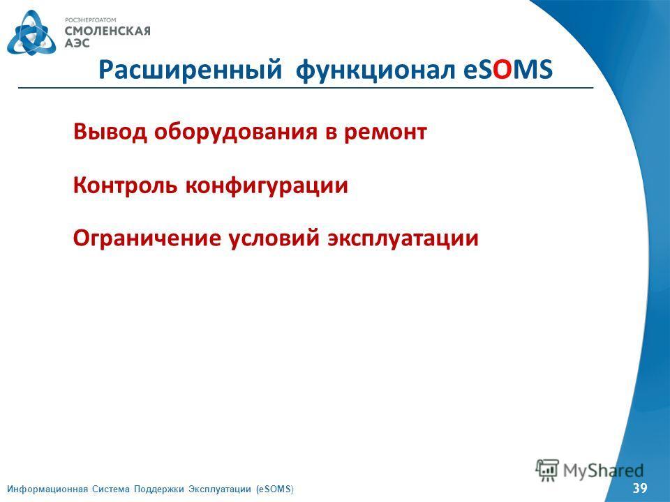 39 Информационная Система Поддержки Эксплуатации (eSOMS) Расширенный функционал eSOMS Вывод оборудования в ремонт Контроль конфигурации Ограничение условий эксплуатации