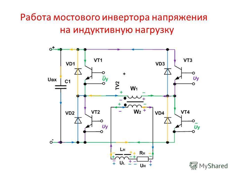 Работа мостового инвертора напряжения на индуктивную нагрузку
