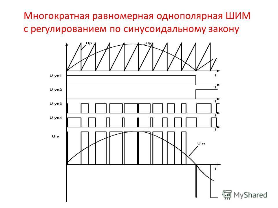 Многократная равномерная однополярная ШИМ с регулированием по синусоидальному закону