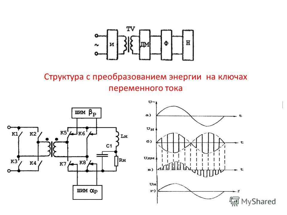 Структура с преобразованием энергии на ключах переменного тока