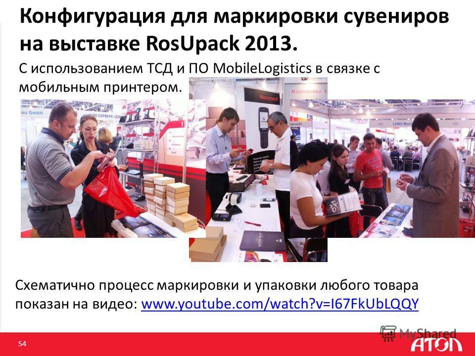 Конфигурация для маркировки сувениров на выставке RosUpack 2013. 54 http:// С использованием ТСД и ПО MobileLogistics в связке с мобильным принтером. Схематично процесс маркировки и упаковки любого товара показан на видео: www.youtube.com/watch?v=I67