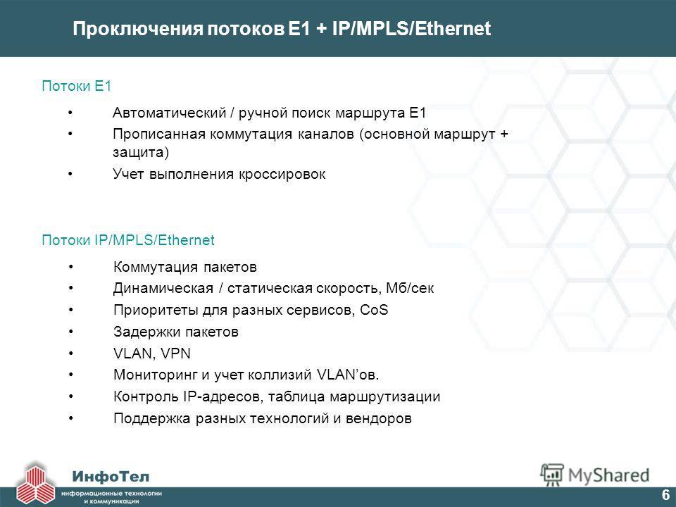 6 Проключения потоков E1 + IP/MPLS/Ethernet Автоматический / ручной поиск маршрута Е1 Прописанная коммутация каналов (основной маршрут + защита) Учет выполнения кроссировок Потоки Е1 Коммутация пакетов Динамическая / статическая скорость, Мб/сек Прио