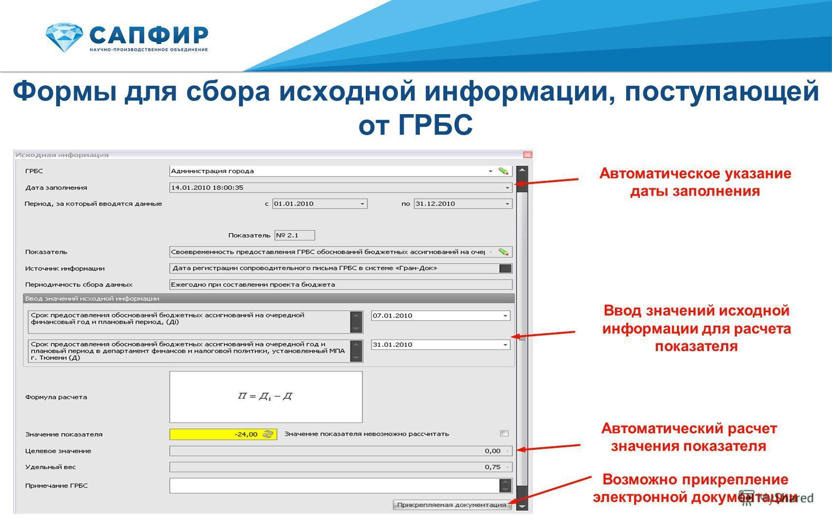 Формы для сбора исходной информации, поступающей от ГРБС Ввод значений исходной информации для расчета показателя Автоматическое указание даты заполнения Автоматический расчет значения показателя Возможно прикрепление электронной документации