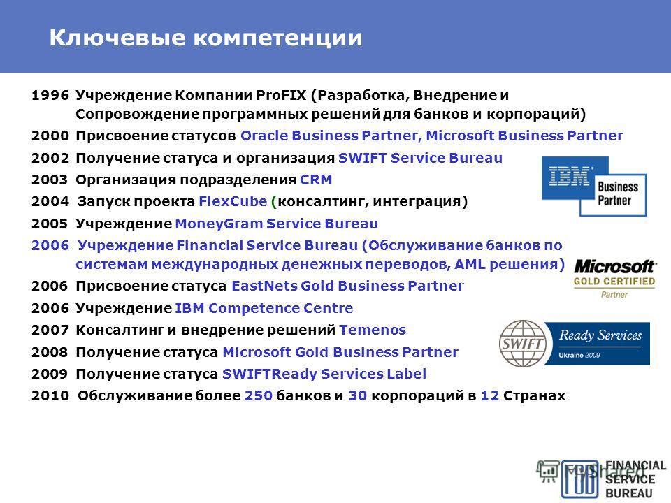 Ключевые компетенции 1996Учреждение Компании ProFIX (Разработка, Внедрение и Сопровождение программных решений для банков и корпораций) 2000Присвоение статусов Oracle Business Partner, Microsoft Business Partner 2002Получение статуса и организация SW