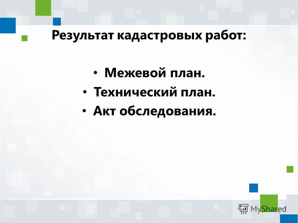 Результат кадастровых работ: Межевой план. Технический план. Акт обследования. 3