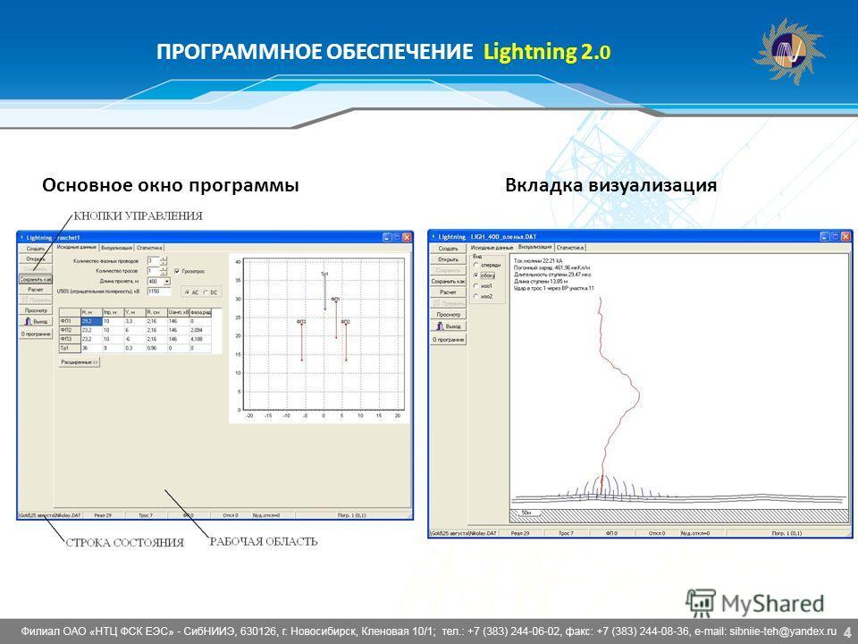 4 ПРОГРАММНОЕ ОБЕСПЕЧЕНИЕ Lightning 2. 0 Основное окно программы Вкладка визуализация