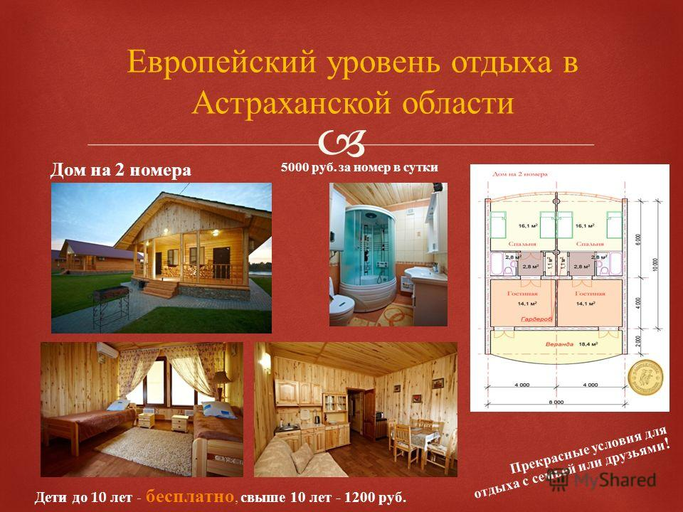Европейский уровень отдыха в Астраханской области Дом на 2 номера Прекрасные условия для отдыха с семьей или друзьями ! 5000 руб. за номер в сутки Дети до 10 лет - бесплатно, свыше 10 лет - 1200 руб.