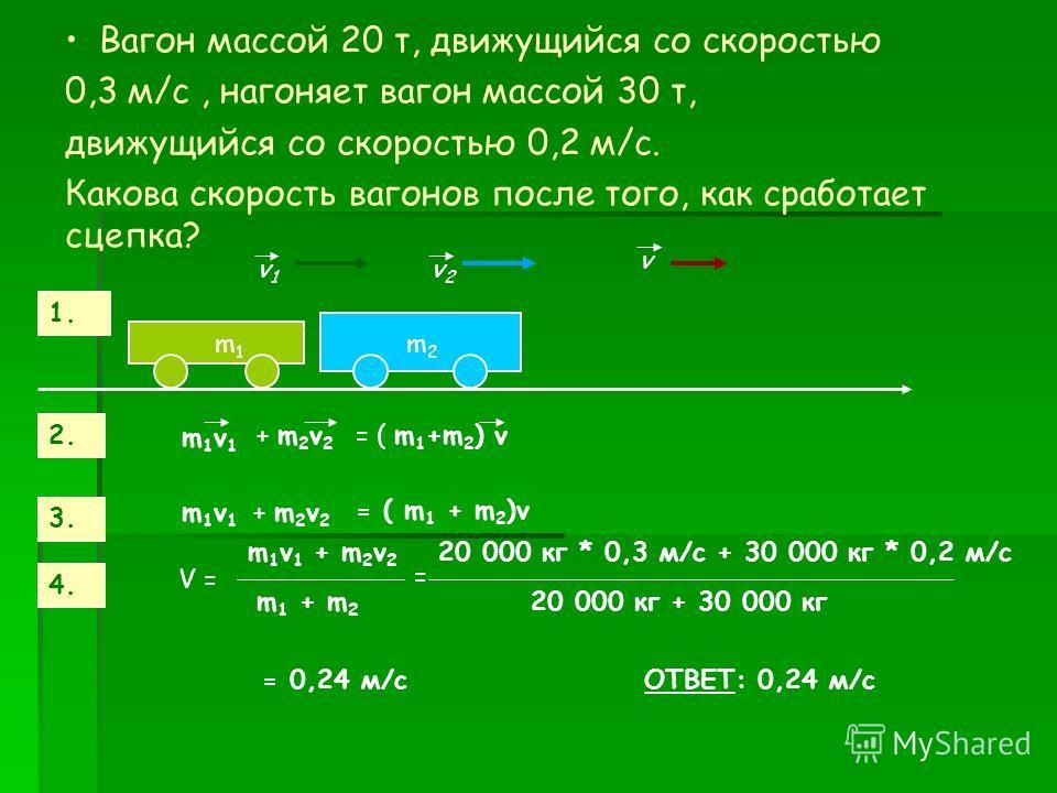 Вагон массой 20 т, движущийся со скоростью 0,3 м/с, нагоняет вагон массой 30 т, движущийся со скоростью 0,2 м/с. Какова скорость вагонов после того, как сработает сцепка? v1v1 v2v2 m1m1 m2m2 1. 2. m1v1m1v1 + m 2 v 2 = ( m 1 +m 2 ) v 3. m1v1m1v1 + m 2