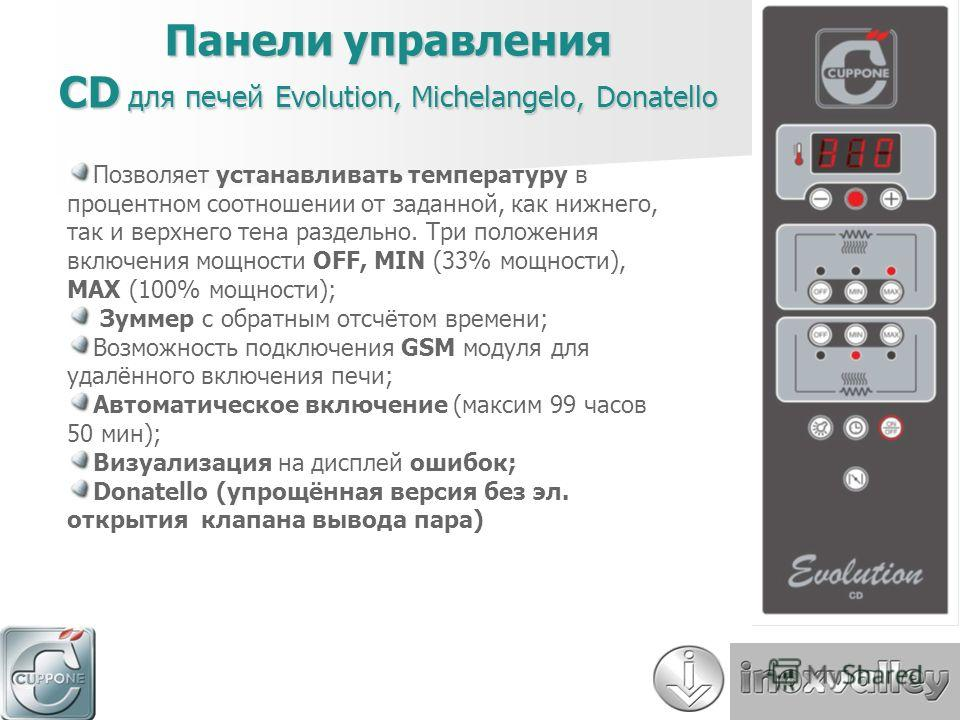 Панели управления CD для печей Evolution, Michelangelo, Donatello Позволяет устанавливать температуру в процентном соотношении от заданной, как нижнего, так и верхнего тена раздельно. Три положения включения мощности OFF, MIN (33% мощности), MAX (100