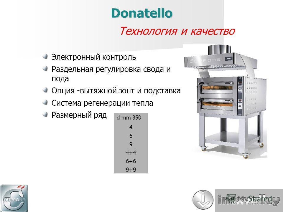 Электронный контроль Раздельная регулировка свода и пода Опция -вытяжной зонт и подставка Система регенерации тепла Размерный ряд Технология и качество Donatello d mm 350 469469 4+4 6+6 9+9