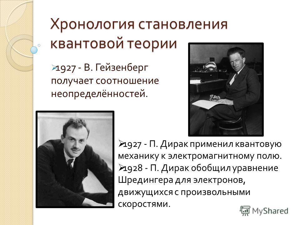 Хронология становления квантовой теории 1927 - В. Гейзенберг получает соотношение неопределённостей. 1927 - П. Дирак применил квантовую механику к электромагнитному полю. 1928 - П. Дирак обобщил уравнение Шредингера для электронов, движущихся с произ