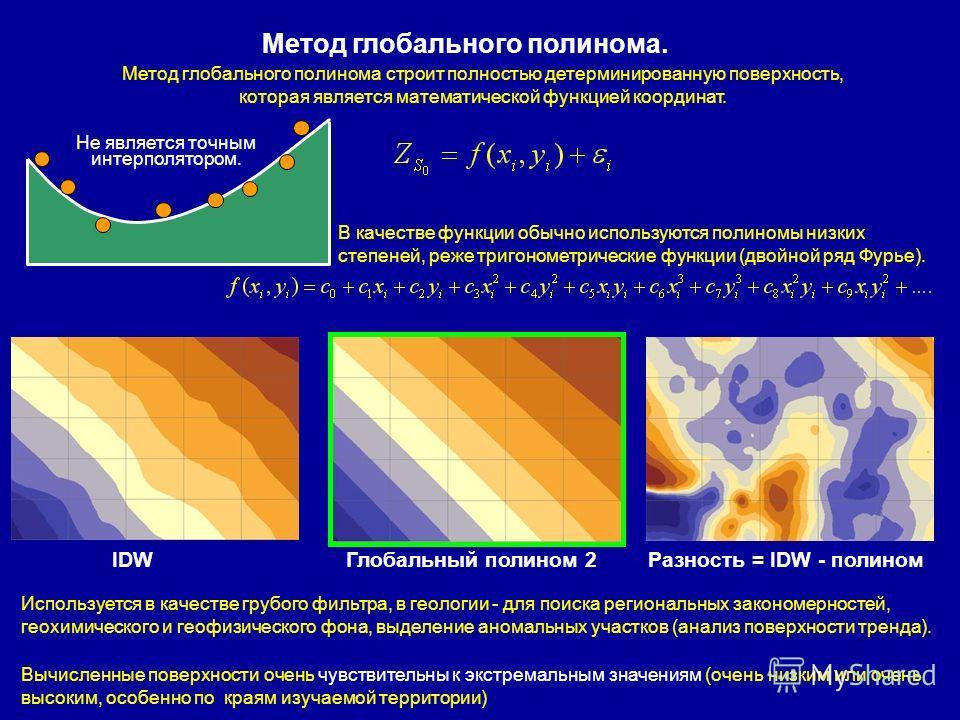 Метод глобального полинома. Метод глобального полинома строит полностью детерминированную поверхность, которая является математической функцией координат. В качестве функции обычно используются полиномы низких степеней, реже тригонометрические функци
