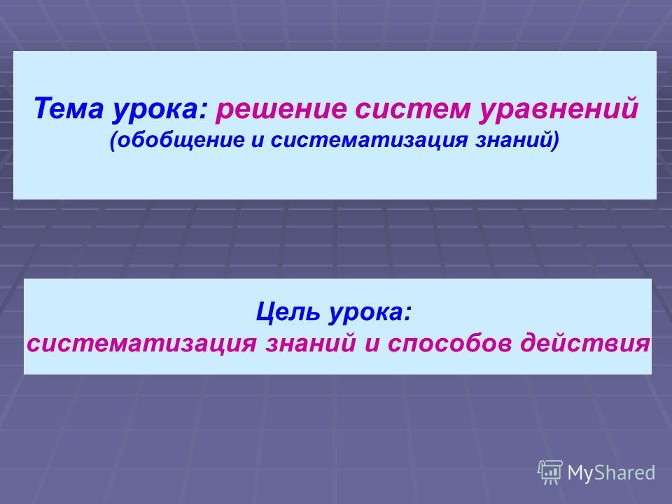 Тема урока: решение систем уравнений (обобщение и систематизация знаний) Цель урока: систематизация знаний и способов действия