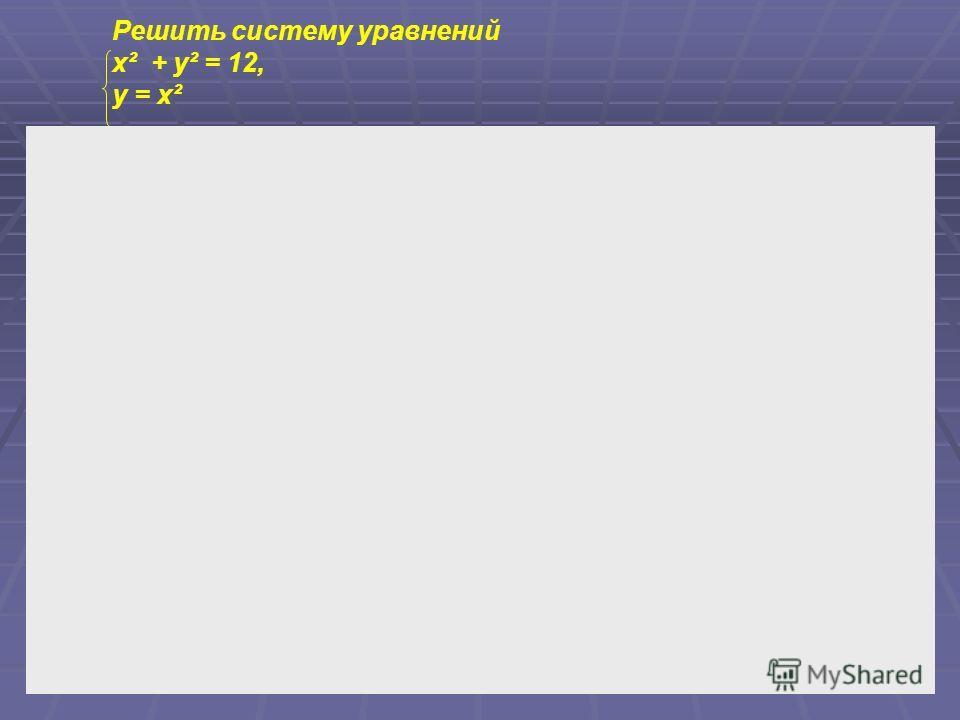 Решить систему уравнений x² + y² = 12, y = x²