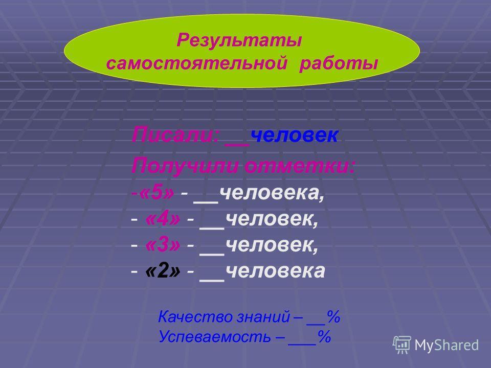 Результаты самостоятельной работы Писали: __человек Получили отметки: -«5» - __человека, - «4» - __человек, - «3» - __человек, - «2» - __человека Качество знаний – __% Успеваемость – ___%